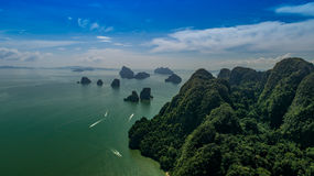 Aerial view of beautiful limestone rock formations in the sea royalty free stock photography