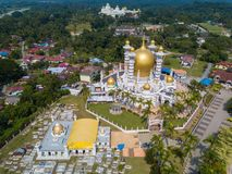Aerial view of beautiful mosque in Kuala Kangsar, Malaysia stock images