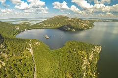 Aerial view of the a beautiful mountain lake Borovoe (Burabay), Kazakhstan royalty free stock photography