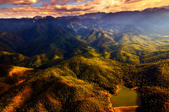 Aerial View of Beautiful Mountain Range. With warm sunlight Stock Images