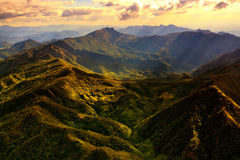 Aerial View of Beautiful Mountain Range. With warm sunlight Stock Photo