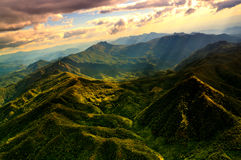 Aerial View of Beautiful Mountain Range. With warm sunlight Royalty Free Stock Photos