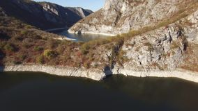 Aerial view on beautiful mountain river stock video footage