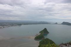 Aerial view of beautiful mountain and sea landscape in Prachuap bay , Thailand Royalty Free Stock Images
