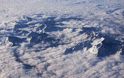 Aerial view of the beautiful mountains and clouds Stock Photography
