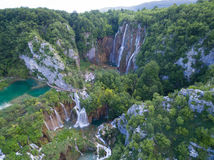 Aerial view of beautiful nature in Plitvice Lakes National Park, Croatia Stock Photos