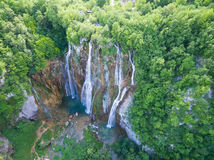 Aerial view of beautiful nature in Plitvice Lakes National Park, Croatia Stock Images