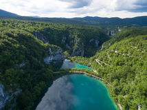 Aerial view of beautiful nature in Plitvice Lakes National Park, Croatia Stock Photo