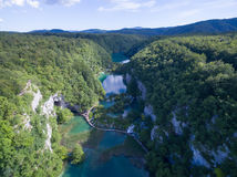 Aerial view of beautiful nature in Plitvice Lakes National Park, Croatia Stock Photography
