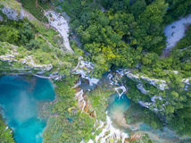 Aerial view of beautiful nature in Plitvice Lakes National Park, Croatia. Aerial view of beautiful lakes and waterfalls in Plitvice Lakes National Park, Croatia Royalty Free Stock Image
