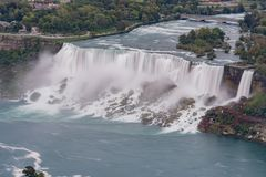 Aerial view of the beautiful Niagara Falls. At Canada royalty free stock image