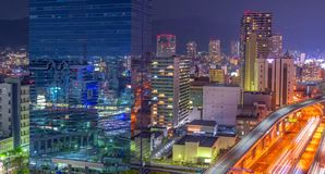 Aerial view of beautiful night city scape, Japan royalty free stock image
