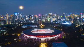 Beautiful lights on the Gelora Bung Karno stadium. Aerial view of beautiful night lights glowing on the Gelora Bung Karno stadium Stock Images