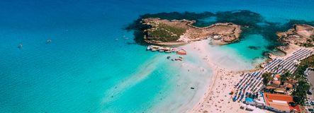 Aerial view of beautiful Nissi beach in Ayia Napa royalty free stock image