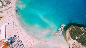 Aerial view of beautiful Nissi beach in Ayia Napa royalty free stock images