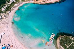 Aerial view of beautiful Nissi beach in Ayia Napa stock photography