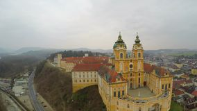 Aerial view, beautiful old catholic abbey courtyard, baroque style architecture. Stock footage stock video
