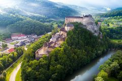 Aerial view of beautiful Orava castle at sunrise. Slovakia stock images