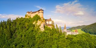 Aerial view of beautiful Orava castle at sunrise. Slovakia royalty free stock images