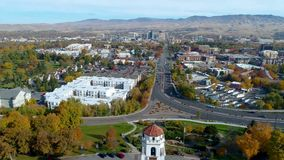 Fall color flyby of the Train depot in Boise Idaho in autumn. Aerial view of beautiful park in Boise Idaho at the train depot with fall colors stock footage