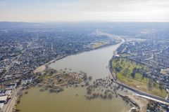 Aerial view of the beautiful Peck road park. At Los Angeles County, California stock photography
