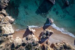 Aerial view of the beautiful Prainha Beach in Portimao, Algarve, Portugal royalty free stock photography