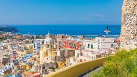 Aerial view of beautiful Procida Island, Italy royalty free stock image