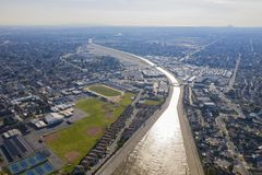 Aerial view of the beautiful Rio Hondo river. At Los Angeles, California stock photography