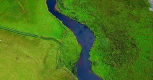 Aerial view of a river and landscape 4k. Aerial view of a beautiful river and landscape 4k stock video