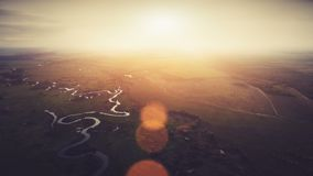 Aerial View: Beautiful river landscape in sunset stock video footage