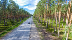 Aerial view of beautiful road across the forest.  Royalty Free Stock Photos