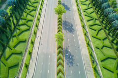 Aerial view of beautiful road at Royal Park Rajapruek  with beau Stock Image
