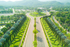 Aerial view of beautiful road at Royal Park Rajapruek  with beau Stock Photography