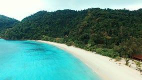 Aerial view beautiful sea beach of Nyaung Oo Phee in Myanmar stock footage