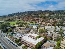 Aerial view of the beautiful Seapoint Townhomes Community Association. At La Jolla, San Diego, California stock photos