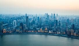 Aerial view of beautiful shanghai bund in nightfall Stock Images