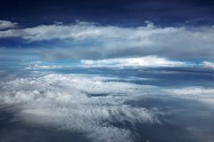 Aerial view beautiful sky with clouds as cloud fields Stock Photography