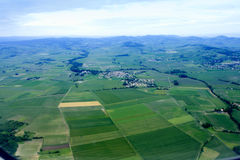 Aerial view of Beautiful small green village Stock Photo