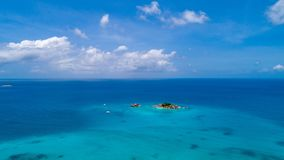Aerial view of beautiful St. Pierre Island at Seychelles. Top view from drone.  stock image