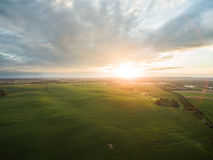 Aerial view of a beautiful sunset over green corn fields - agricultural fields Royalty Free Stock Photography