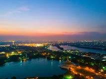 Aerial view of beautiful sunset in Rama 9 public park in Bangkok Stock Photography