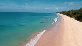 Aerial view of beautiful tropical empty beach royalty free stock photo