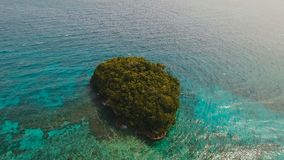 Aerial view beautiful tropical island. Boracay island Philippines. Aerial view of beautiful tropical island with with azure water. Tropical lagoon with stock footage