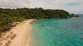 Aerial view beautiful tropical island and sand beach. Boracay island Philippines. stock footage