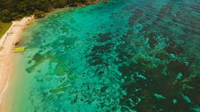 Aerial view beautiful tropical island and sand beach. Boracay island Philippines. Aerial view of beautiful tropical island with with azure water. Tropical stock video
