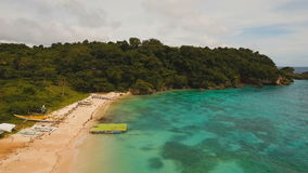Aerial view beautiful tropical island and sand beach. Boracay island Philippines. stock video footage