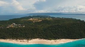 Aerial view beautiful beach on tropical island. Boracay island Philippines. Aerial view of beautiful tropical island with white sand beach, and tourists. Puka stock video
