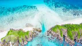 Aerial view beautiful tropical white sand beach and snorkel poi royalty free stock images