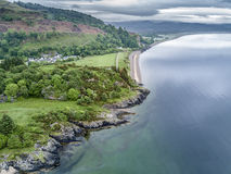 Aerial view of the beautiful village of Benderloch with dramatic skys Stock Photography