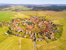 Aerial view of beautiful village. In spring countryside. Old village Lipnice in Brdy, Czech republic. Rundling is a form of circular village. Typical medieval royalty free stock photo